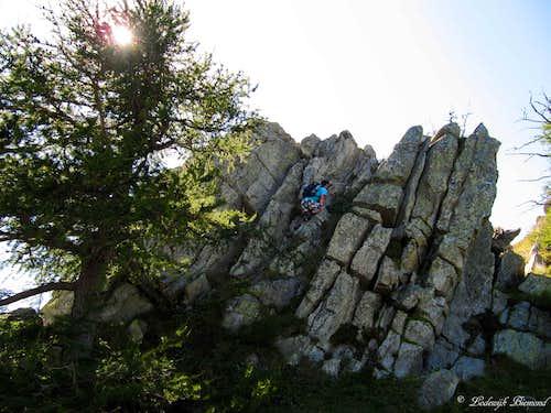 Rock climbing along the route