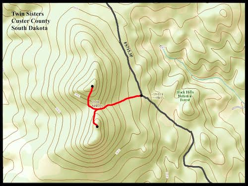 Twin Sisters Route Map