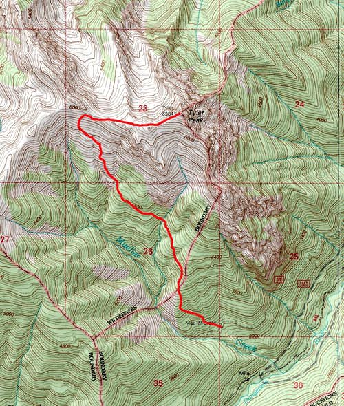Map of the direct route up Tyler Peak