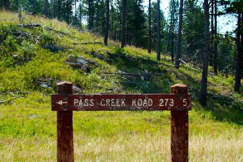 Pass Creek Road Sign