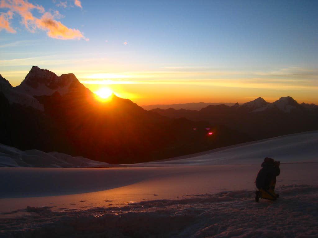 Sunset from Alpamayo high camp