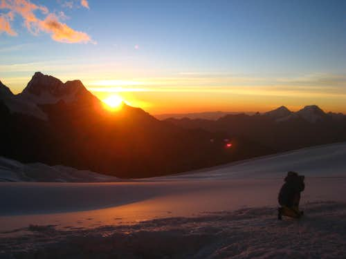 Sunset from Alpamayo high camp