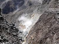 Barely consolidated lava - active fumaroles