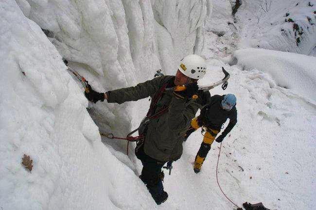 Let begin ice climbng. Photo...