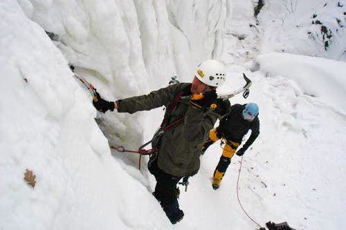Let begin ice climbng. Photo...