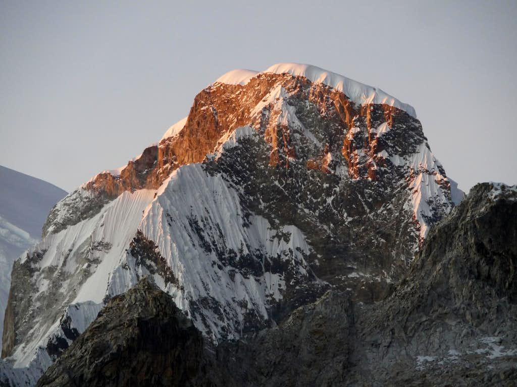 First light on Huascaran Norte