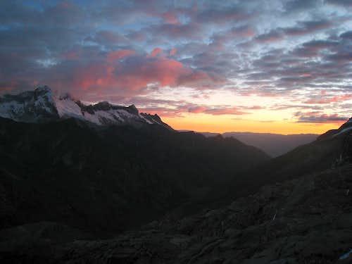 Sunset from Tocllaraju high camp