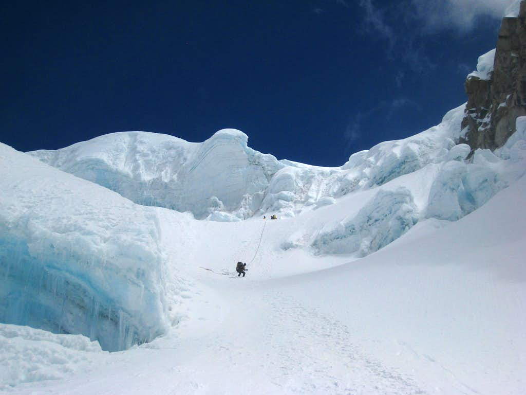 Climbing to the Alpamayo/Quitaraju col