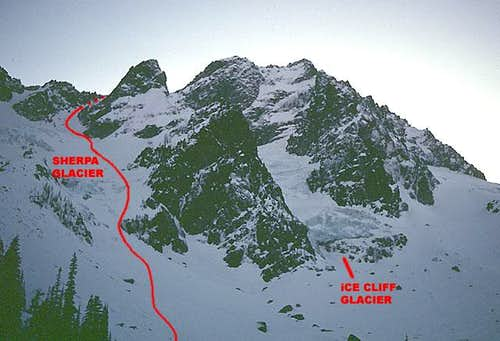 Sherpa and Ice Cliff Glaciers