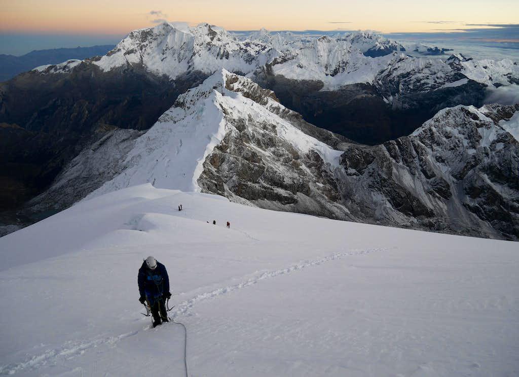 Climbing up Tocllaraju