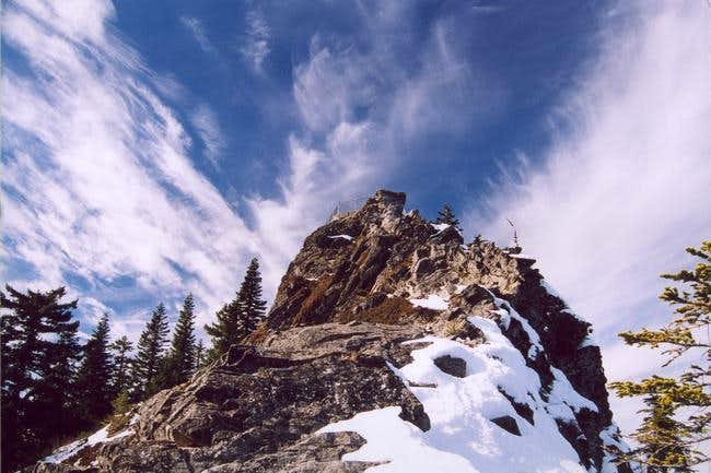 Larch Mountain's summit spire, Sherrard Point, from the east, February 18th, 2005