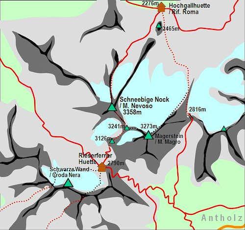 A self-made map of Schneebige...