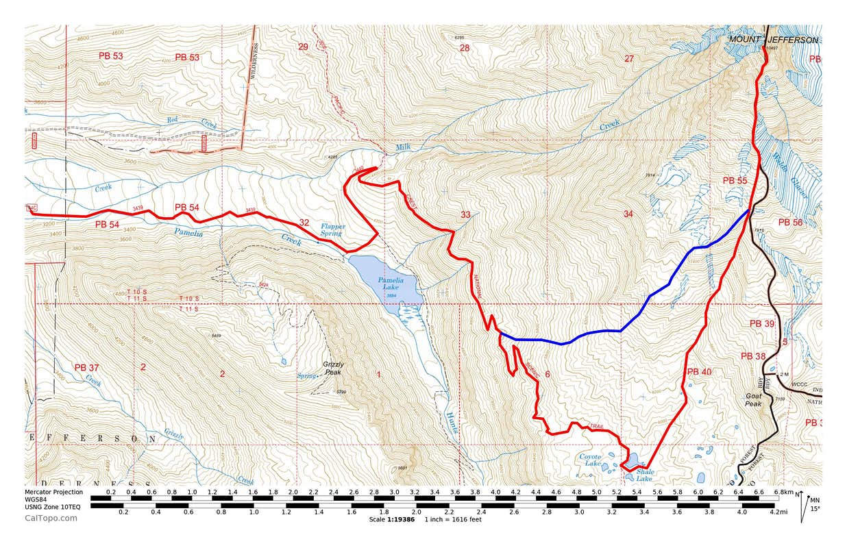 Mount Jefferson Pamelia Lake Routes