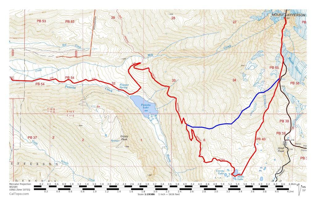Mount Jefferson Pamelia Lake Routes