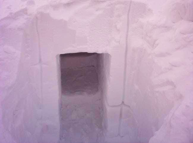 A snow cave we dug into a...