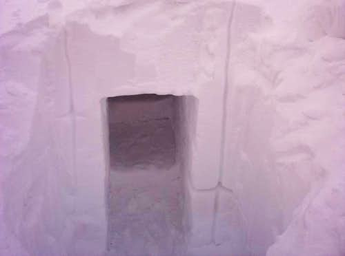 A snow cave we dug into a...