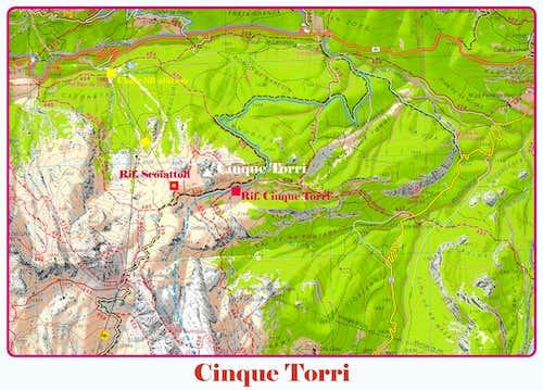 Cinque Torri (Five Towers) map
