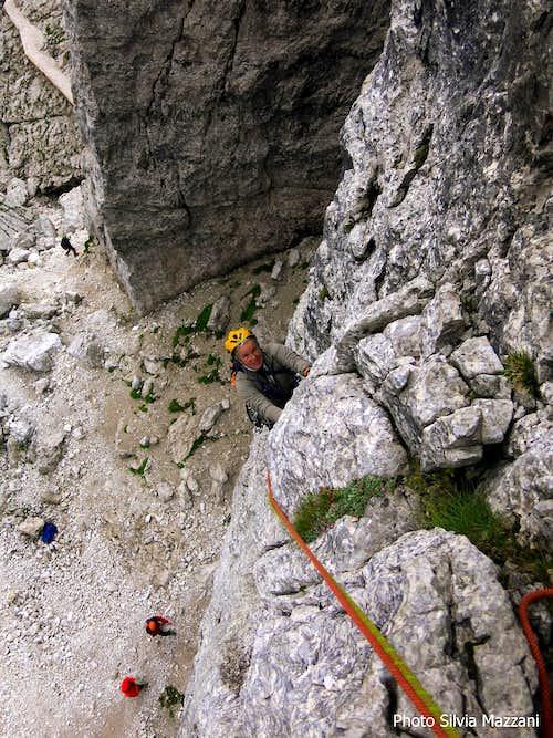 Climbing Dibona on Torre Barancio