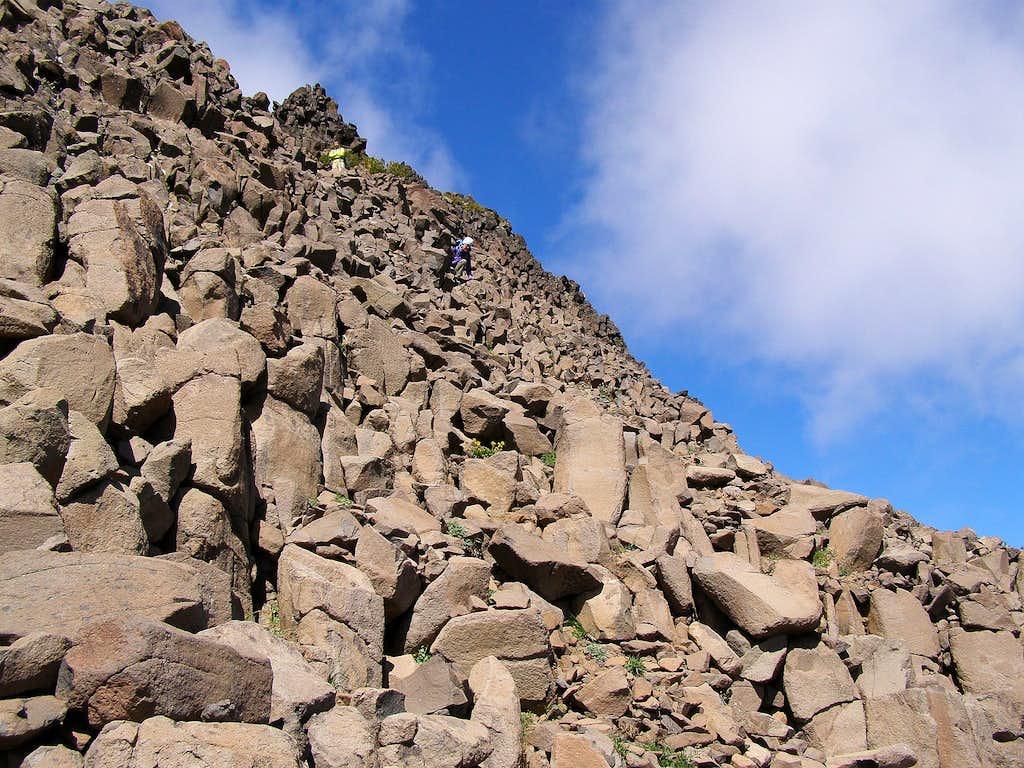 Descending the summit pinnacle