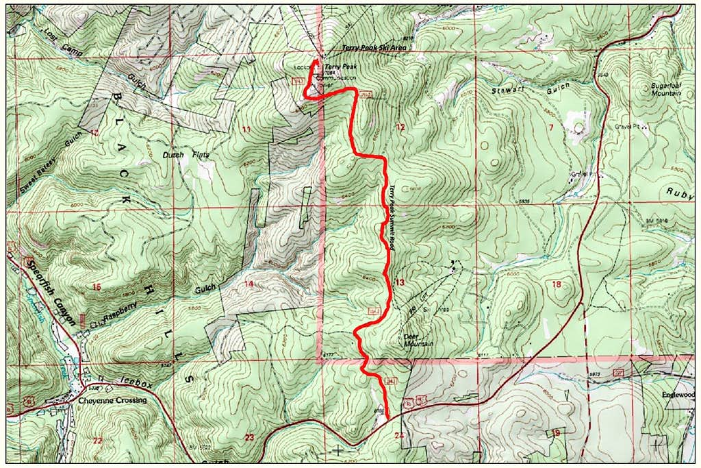 Terry Peak Area Map
