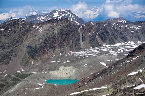 Bietschhorn and a bright colored Glacial Lake