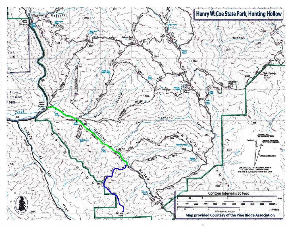 Bills Hill Hiking Map