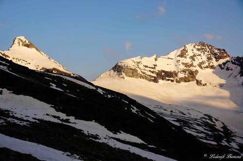 Sonnighorn (3470m) late in the afternoon from Almageller hut