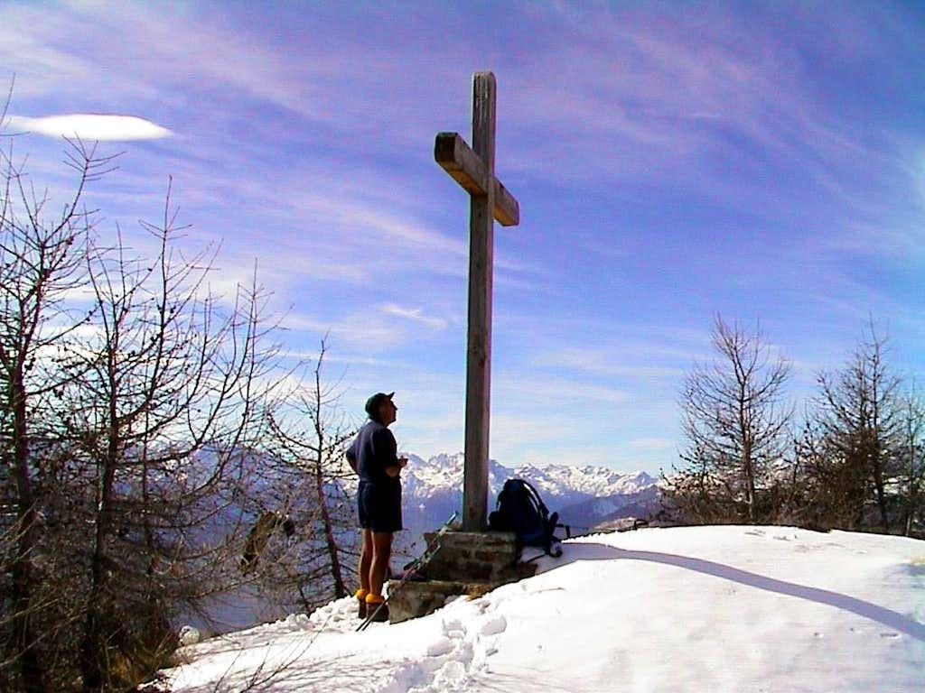 Croix de Fana Admiring the high Summit Cross 2002