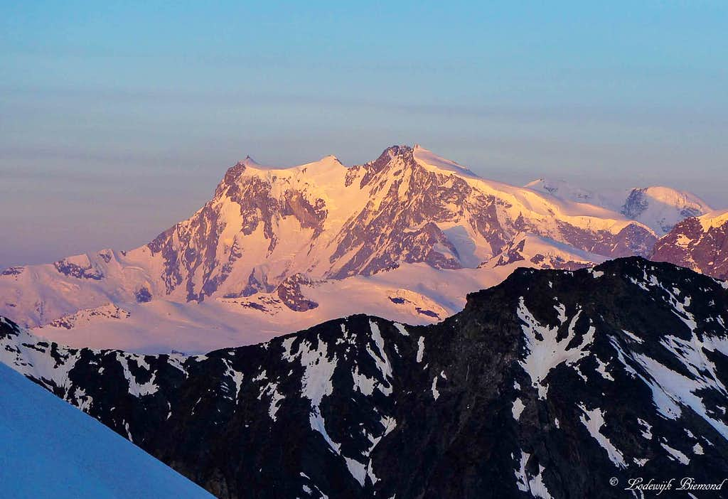 The mighty Monte Rosa Glowing at sunrise (15203 ft / 4634 m)