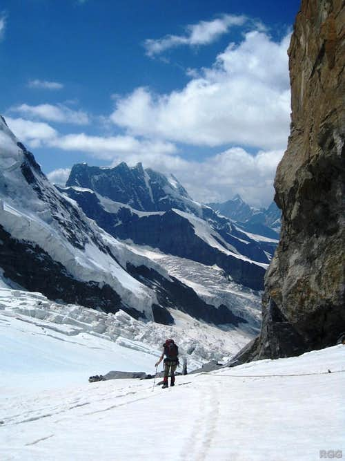 Descending the Grenzgletscher, with Breithorn in the distance