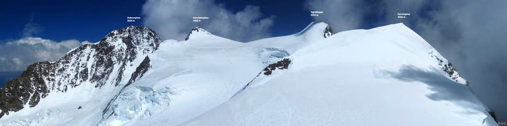 Annotated summit panorama from Ludwigshöhe, spanning from Dufourspitze to Parrotspitze