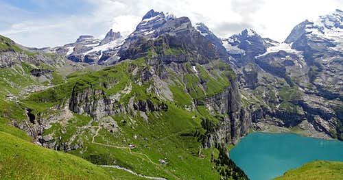 Oeschinensee and Bluemlisalp