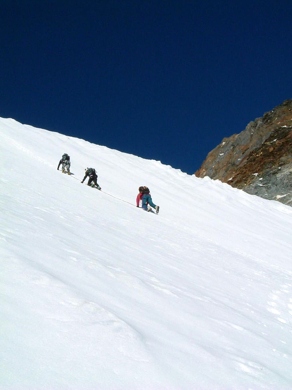 Downclimb along Cima delle Anime Northern slopes