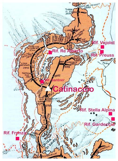Catinaccio - Rosengartenspitze map