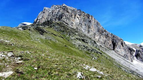 The sheer rock wall east by southeast of the Turtmannhütte