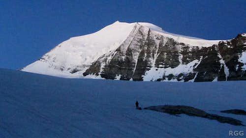 Jan on the Brunegg Glacier, dwarfed by Bishorn