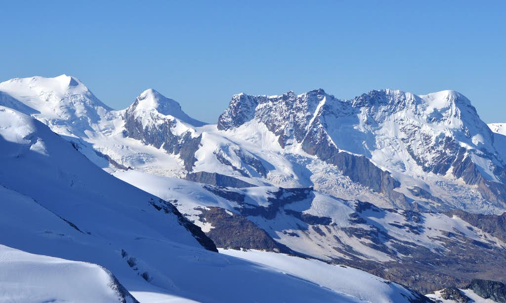 The 'Twins' and Breithorn from Allalinhorn 4027m