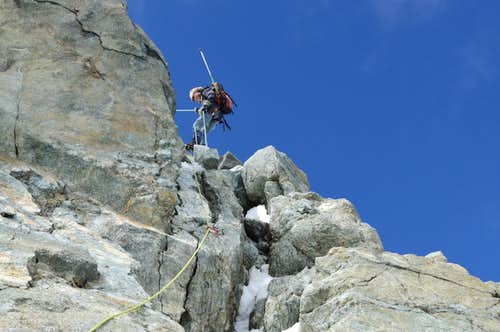 Abseiling the crux of the Hohlaubgrat, Allalinhorn 4027m