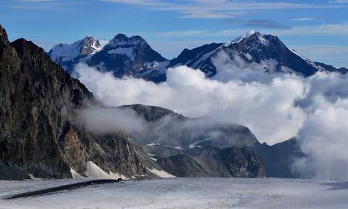 Weissmies Group from Upper Allalin Glacier