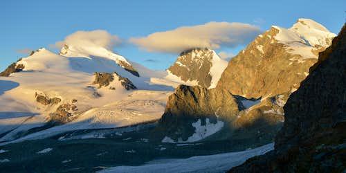 Strahlhorn 4190m, Rimpfischhorn 4199m & Allalinhorn 4027m after dawn
