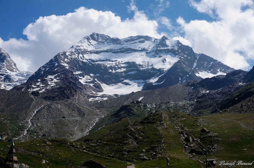 Lagginhorn West Face (13156 ft / 4010 m) as seen from Kreuzboden