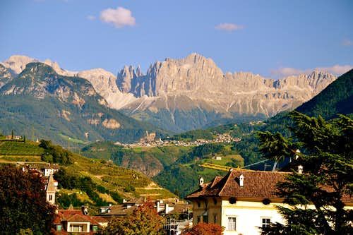 The Catinaccio (Rosengarten) group seen from the city of Bolzano / Bozen