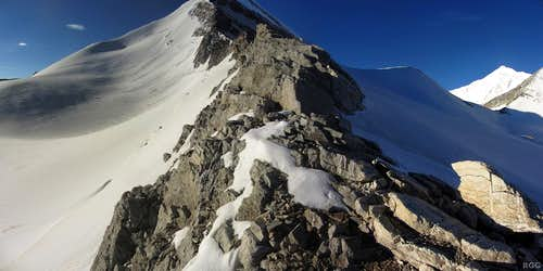 Looking up the Brunegghorn NW ridge from the Bruneggjoch