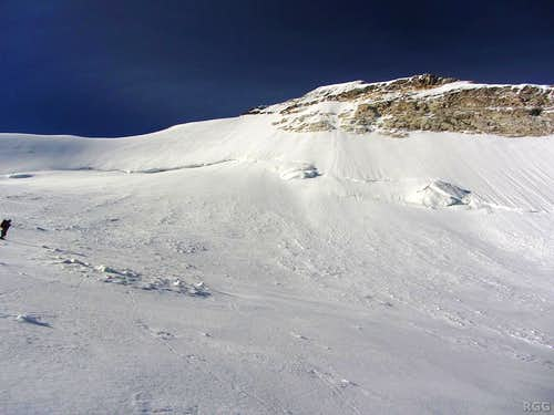 Looking up the Brunegghorn north face from the Abberg Glacier