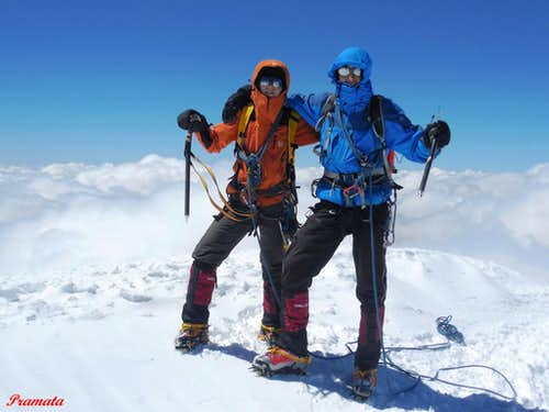 On the top of mount Kazbek (5047m.) Caucasus