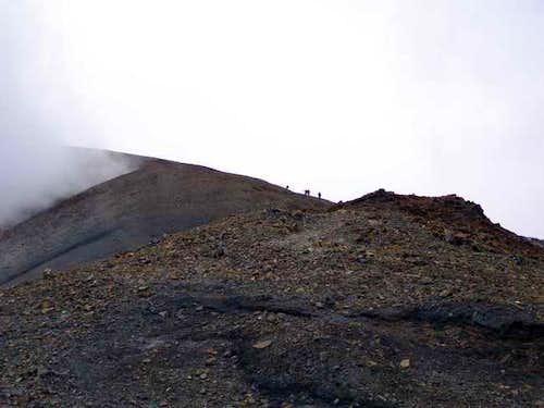 Climbers heading up through...