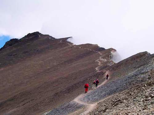 Climbers approaching the...