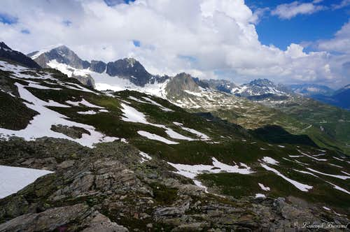 Galenstock(11755 ft / 3583 m ) as seen from the flanks of Klein Furkahorn