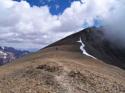 Climbers at the saddle with...