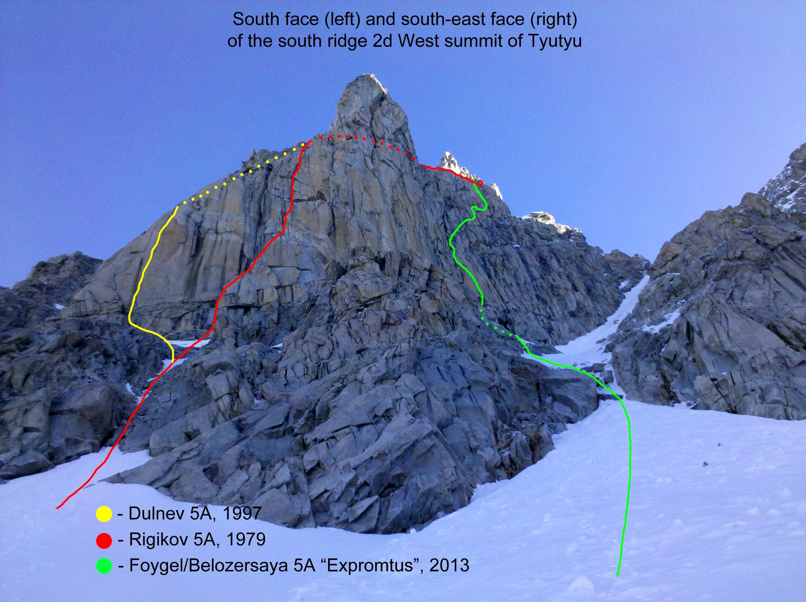 """Expromtus"" south-east face of south ridge, TD 635m max 6a, A2 (5m)"